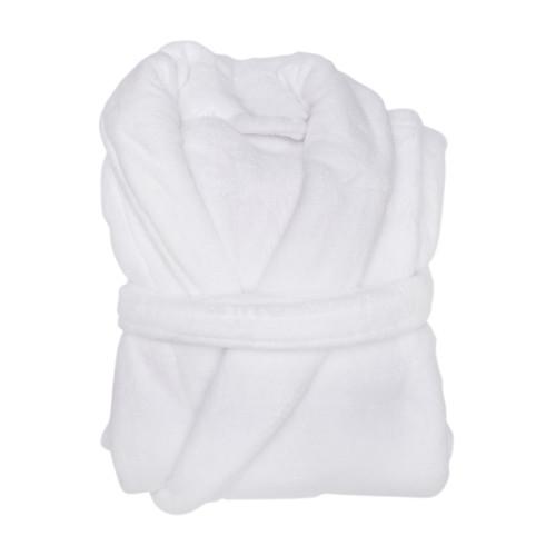 white coral fleece bathrobe